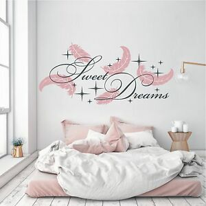 Details Zu Wandtattoo Wandaufkleber 2 Farbig Sweet Dreams Federn Sterne Schlafzimmer 769 Xl