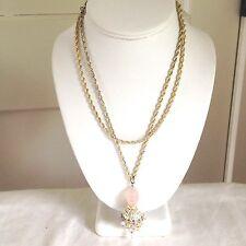 "Vintage Alex Nicole Matte Silver Tone Necklace with Pastel Beaded Pendant - 35 """