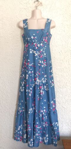 VIntage Malia Honolulu 60s Hawaiian Blue Floral Ma