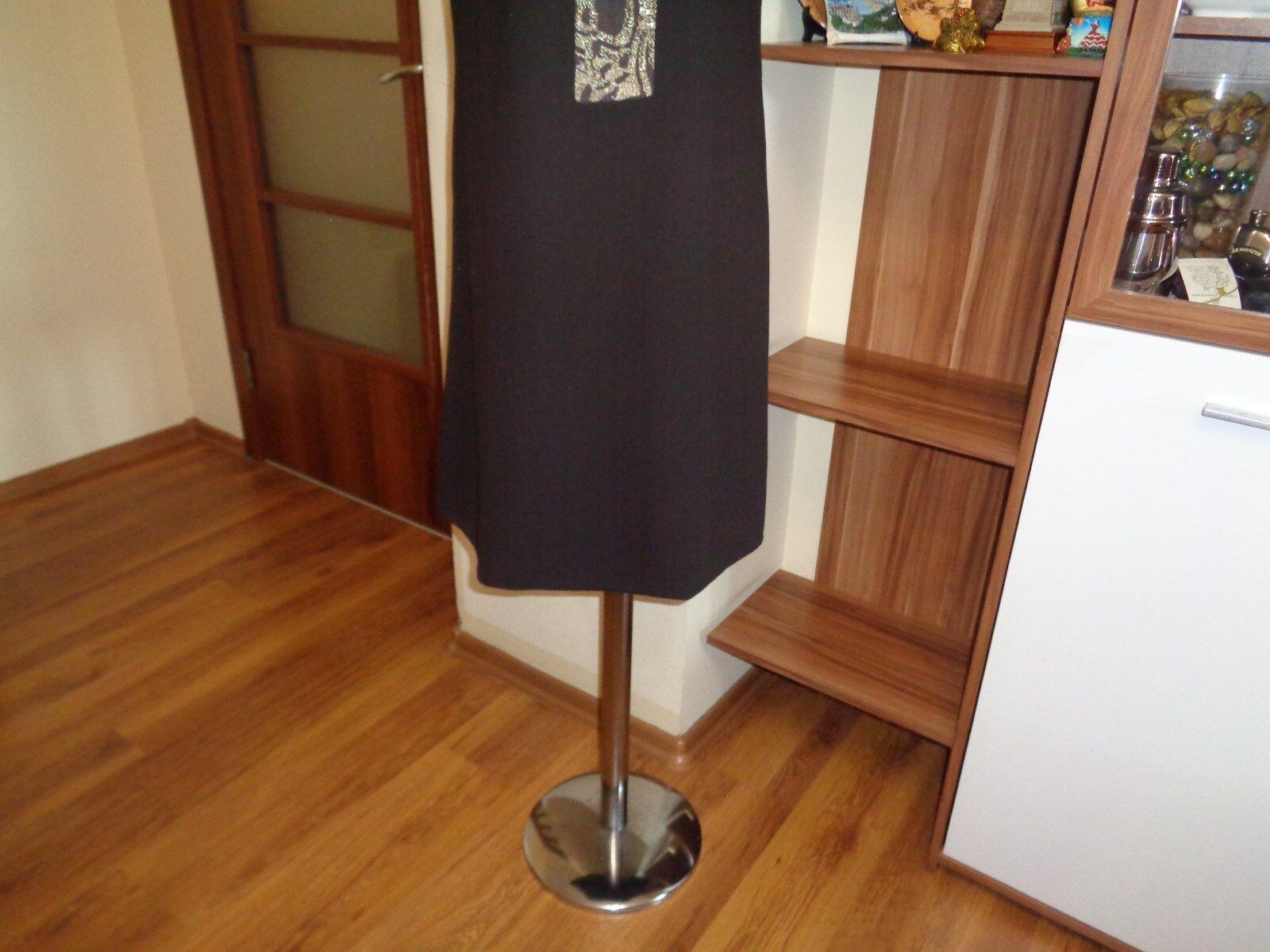 BADGLEY BADGLEY BADGLEY MISCHKA DARK BROWN WOOL CREPE A-LINE DRESS WITH gold METALLIC EMBROIDERY 34d3b2