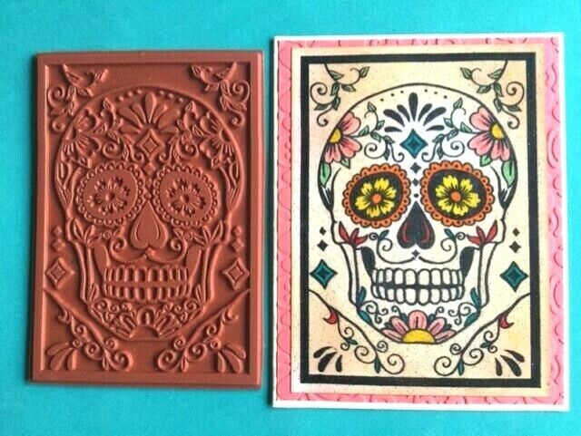 Cute Dia de Los Muertos Day of Dead Sugar Skull Rubber Stamp for Stamping Crafting Planners 3//4 Inch Small
