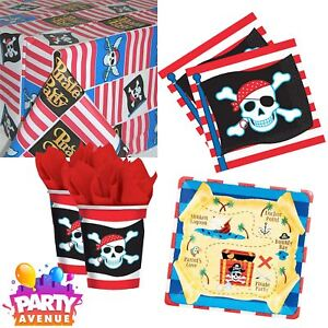 Pirate Party Birthday Tableware Cups Napkins Table Cover Plates