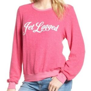 Wildfox Couture Women s Pink Jet Lagged Baggy Beach Pullover Jumper ... a1edee114