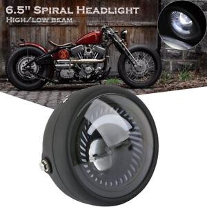 Espiral-de-motocicleta-Blanco-Montaje-Lateral-6-5-034-LED-Faros-Para-Cafe-Racer-Bobber