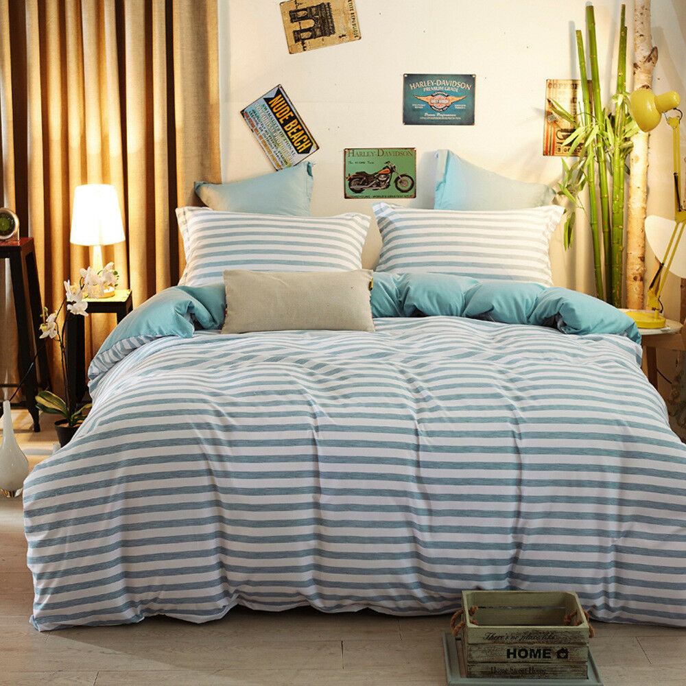 Simple Teal Striped Twin Queen King Bedding Sets Duvet Covers Sets NEW