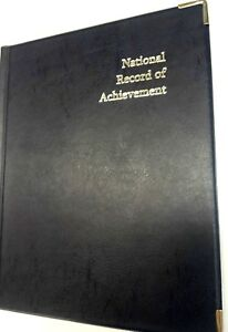 NATIONAL-RECORD-OF-ACHIEVEMENT-PVC-A4-FOLDER-IN-Blue-LEATHER-LOOK-WITH-silver