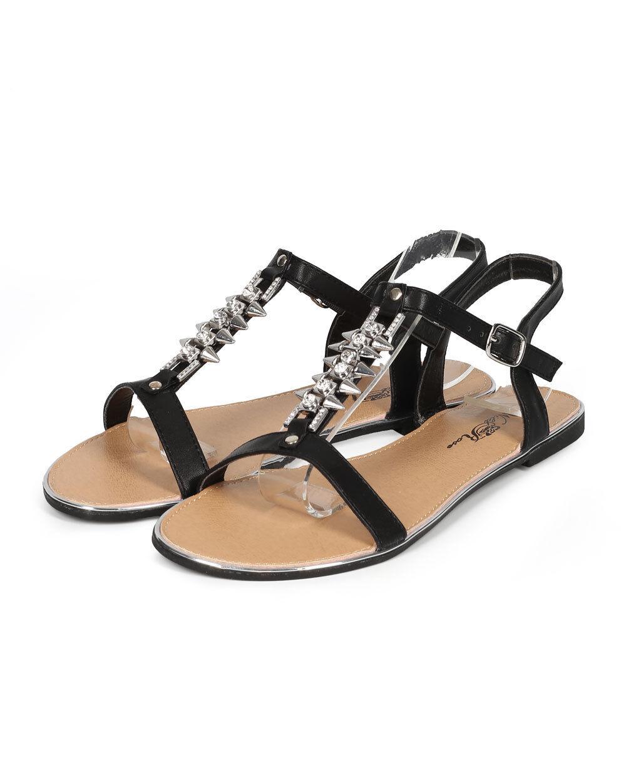 New Women Spike Wild Rose Rincon-19 Leatherette Open Toe Spike Women T-Strap Flat Sandal 69013d