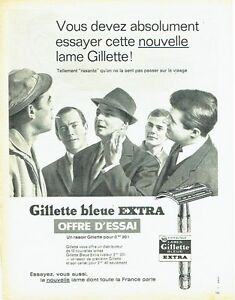 Publicite-Advertising-0817-1962-lames-rasoir-Gillette-Bleue-extra