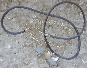 Wow-Set-Stern-Schmuck-Perlmutt-Anhaenger-925-Silber-Armband-Silber-Kette-Damen