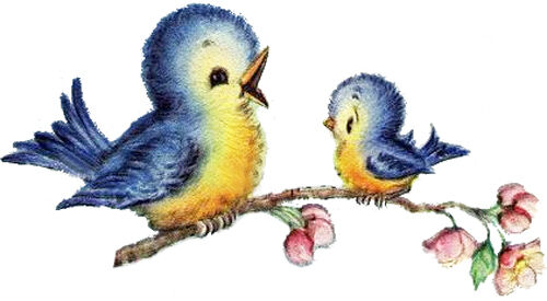 VinTaGe IMaGe CuTesT BaBY BLueBirDs ShaBby WaTerSLiDe DeCALs