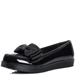 Womens-Kids-Girls-Black-Patent-Bow-Flat-Dolly-School-Work-Office-Loafer-Shoes