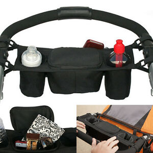 Baby-Pram-Buggy-Organiser-Pushchair-Stroller-Storage-Cup-Holder-Bag