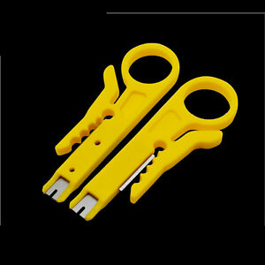 Plastic-Yellow-Strip-Data-Cable-Wire-Punch-Down-Cutter-Stripper-Equipment-New