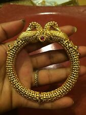 18k on4k Matte Gold Peacock Bracelet Bangle Cuff CC Head Mesh Ruby India