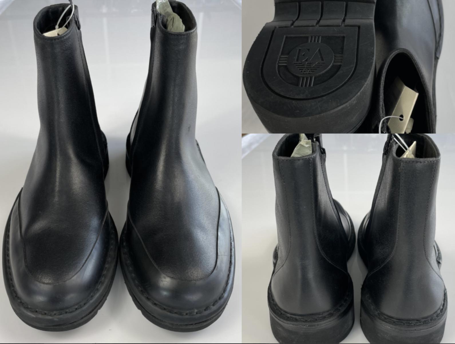 Emporio Armani Men's Vintage Worn Effect biker boots Boots Shoes New