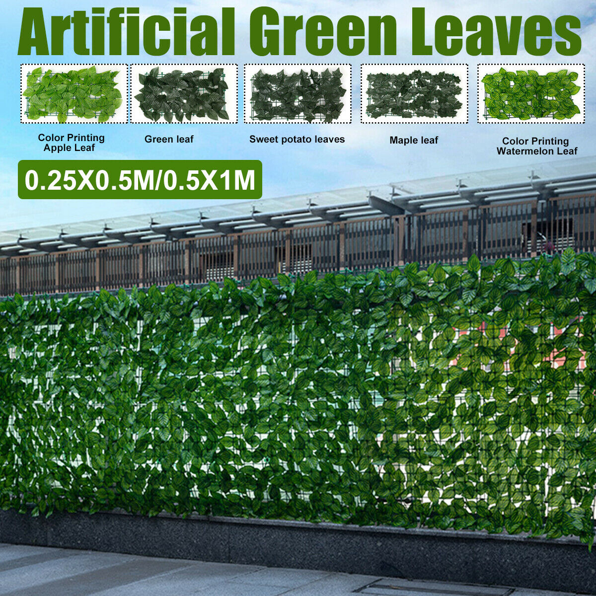 Artificial Ivy Screening On Willow Trellis 2m Hight X 1m Wirth Fence Hedge Maple For Sale Ebay