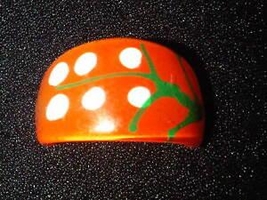 Orange-Green-and-White-Plastic-Ring-J108