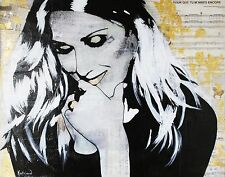 ART Celine DION Portrait Contemporary Mixed Media on Canvas Acrylic Painting