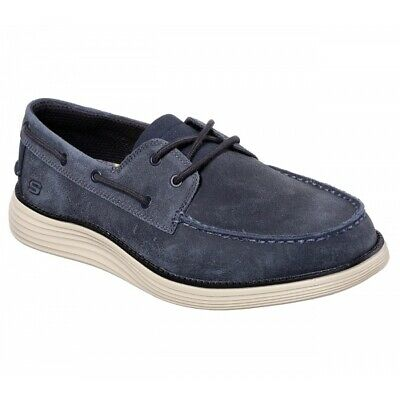 Skechers STATUS 2.0 FORMER Mens Casual Leather Lace Up Boat Deck Shoes Navy