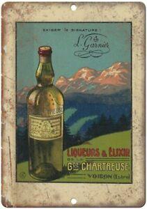 Chartreuse Liqueurs liqueur rétro métal / Plaque affiche mur décor Art - France