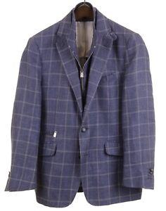 Corneliani-Blue-Windowpane-Linen-Hybrid-Zip-Identity-Jacket-Sport-Coat-Blazer-38