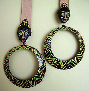 """1630 / Grandes Boucles D'oreille Clips """"africa"""" Metal Peint"""