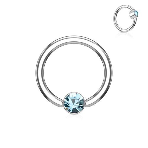 316L Surgical Steel Captive Ring with Aqua Crystal Set Round Flat Cylinder