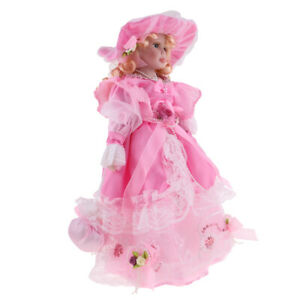 40cm-Porcelain-Doll-Vintage-Lady-Figure-with-Pink-Princess-Dress-Collectible