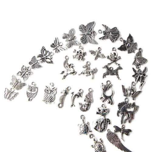 100pcs Bulk Tibetan Silver Mix Charm Pendants Jewelry Making DIY