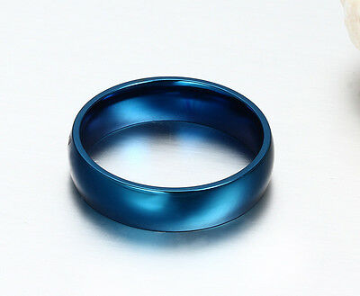 6mm Stainless Steel Ring Men/Women's Wedding Band Silver Gold Blue Size 5-14