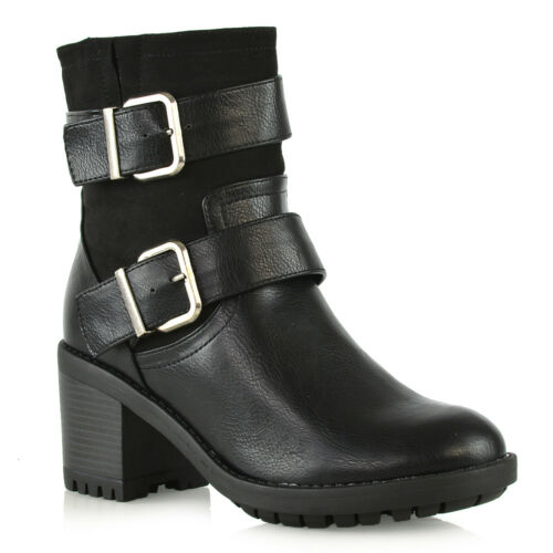 Mid Low Cleated Womens Size Buckle Ladies Boots Booties Heel Sole Strap Ankle fpgqxd5wq