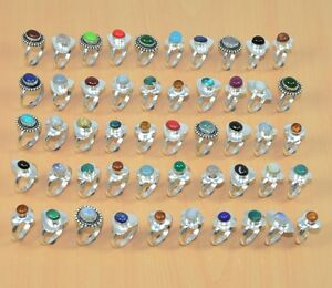 WHOLESALE-50PC-925-STERLING-SILVER-PLATED-CORAL-TURQUOISE-amp-MIX-STONE-RING-LOT