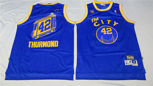 cheaper bf4cb 8fea1 Details about NEW Golden State Warriors Nate Thurmond #42 The City Blue  Jersey