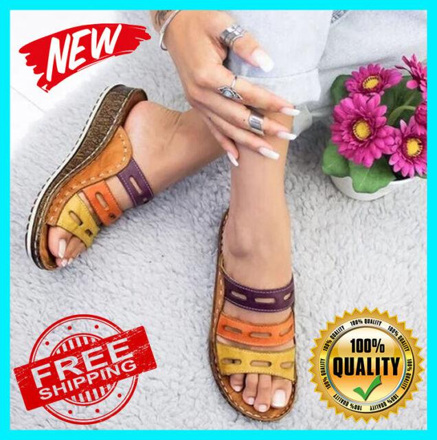 NEW Women Three-color stitching Sandals-OPEN-TOE-WOMEN-SANDALS-SUMMER-2019