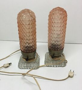 Image Is Loading Pair Vintage Clear Glass W Pink Glass Hobnail