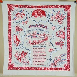 Large-UNUSUAL-Vintage-50-039-s-ALASKA-Map-Souvenir-Tablecloth-GREAT-CONDITION