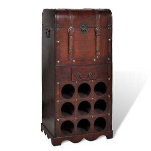 vidaxl holz weinregal 9 ablagef cher f r flaschen trunk mit schublade truhe ebay. Black Bedroom Furniture Sets. Home Design Ideas