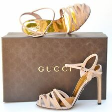 GUCCI New sz 38 - 8 Designer Gold Studded Beige Womens Sandals Heels Shoes