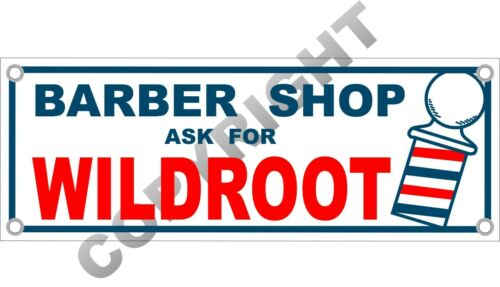 "Barber Shop WILDROOT Cream-Oil Hair Tonic Vintage 16.75/"" x 6/"" Aluminum Sign"