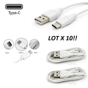 10FT lot 10 WHITE USB TYPE-C Cable G5 note 8 C TYPE Cord HIGH QUALITY zmax pro