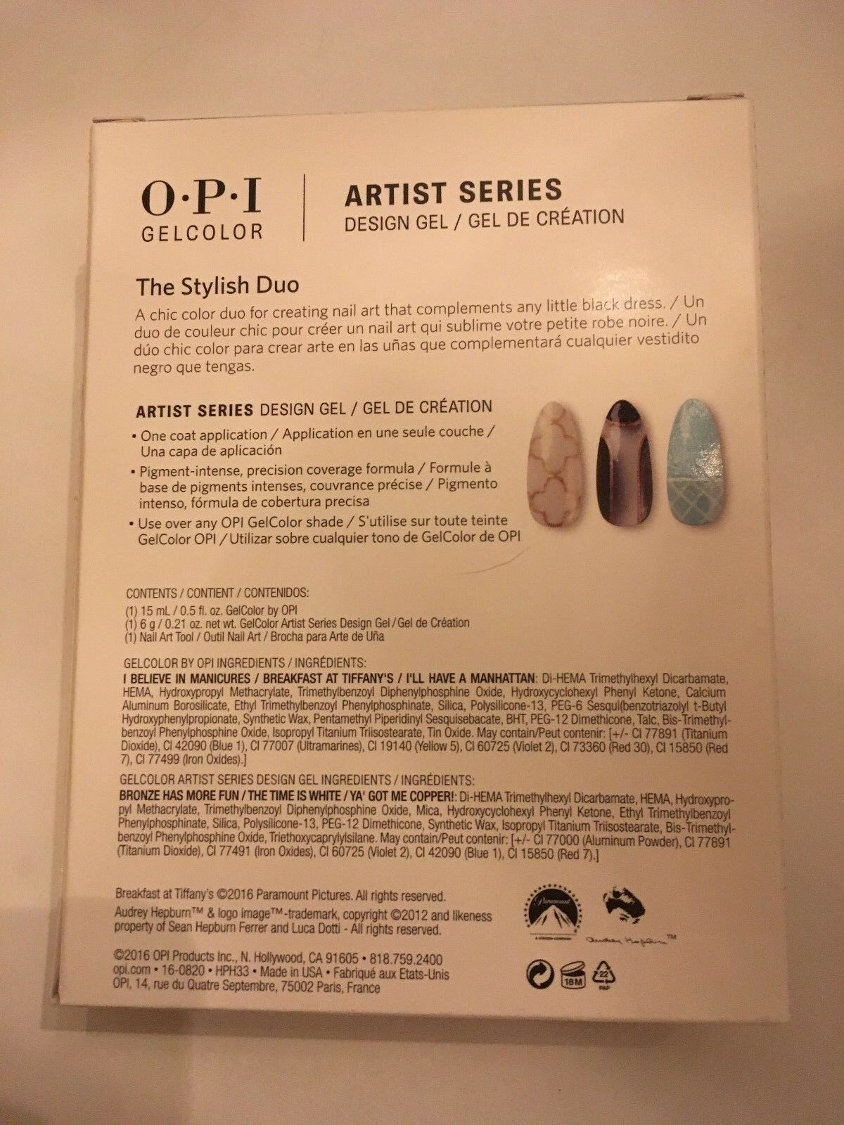 OPI Breakfast at Tiffany\'s The Stylish Duo Artist GEL Color Nail ...