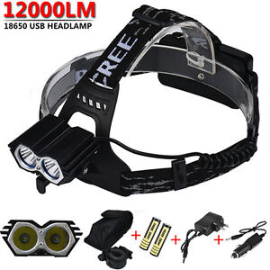 12000LM-2x-XM-T6-LED-Rechargeable-18650-USB-Headlamp-Headlight-Head-Light-Torch
