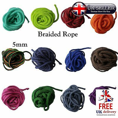 5mm Polyester Cord Braided Rope Soft Colour Color Craft Décor Sewing Trim Edge