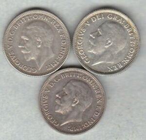 Trois-1927-1929-amp-1936-George-V-sixpences-en-tres-bon-etat-ou-Meilleur-Etat
