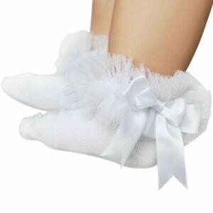 Kids Baby Girls Frilly Bow Lace Tutu Socks Infant Newborn Toddler Ankle Socks UK
