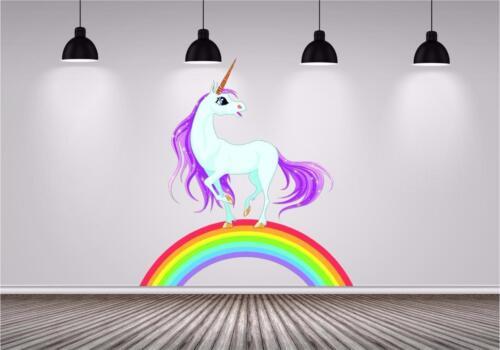 UNICORN RAINBOW princess kids Autocollant Couleur Pleine Imprimé Décalque Transfert Mural P1V