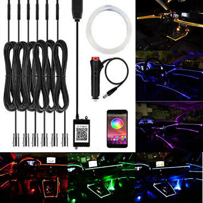 6IN1 8M 2.5MM RGB Car Atmosphere Light Neon Strips APP Bluetooth Controller UK