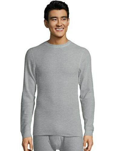 Hanes Men Thermal Crewneck Shirt Top Ultimate Organic Cotton  XTemp Warm FreshIQ