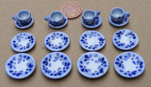 Escala 1:12 16 piezas Juego de Té Cerámica Moteado Azul casa de muñecas en miniatura de TS16