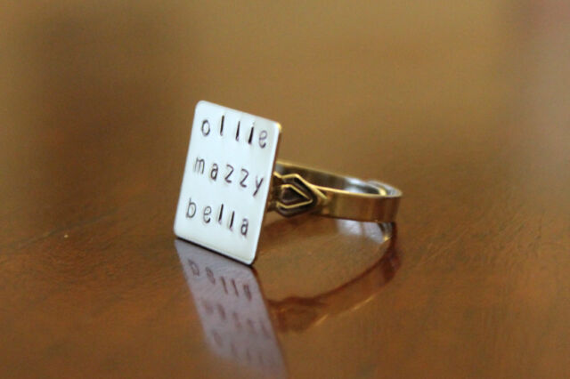 Personalized Name Monogrammed Adjustable Hand Stamped Silver Ring. Up to 3 names